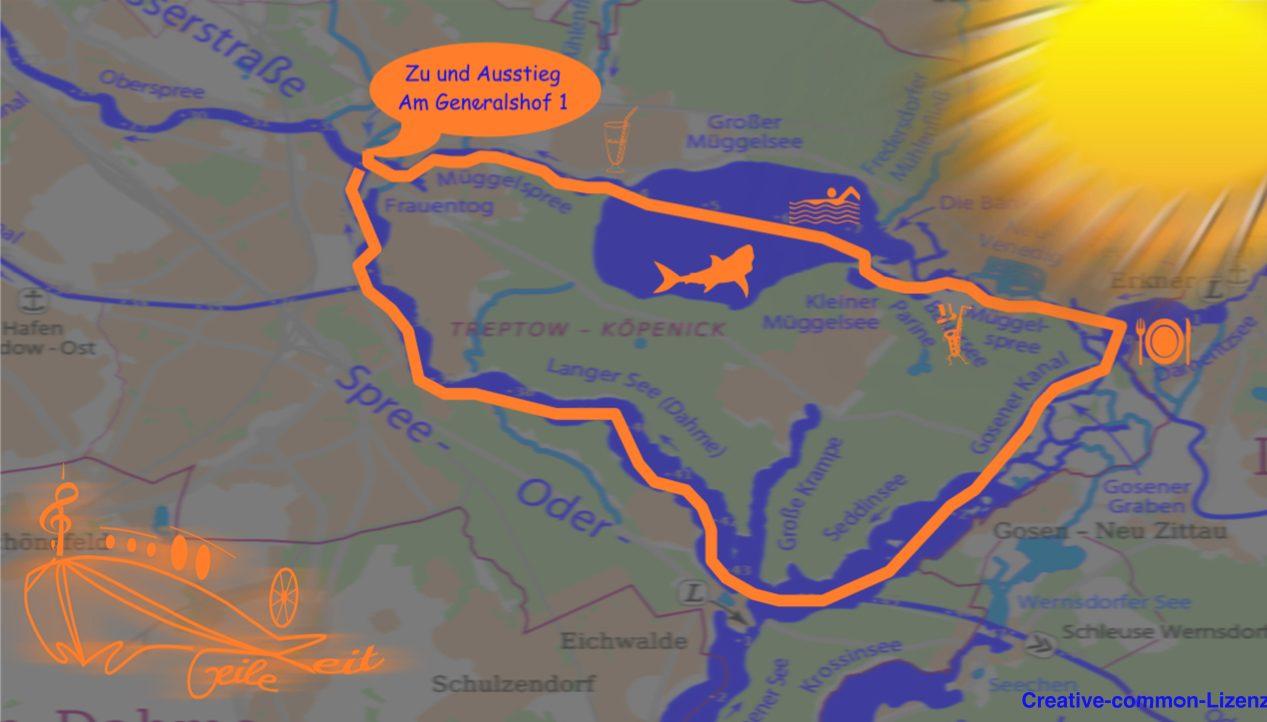 Müggelbergetour Übersichtskarte der Route