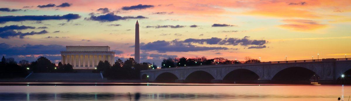sunset near washington monument