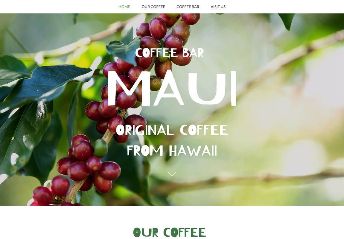 Website voorbeeld koffie