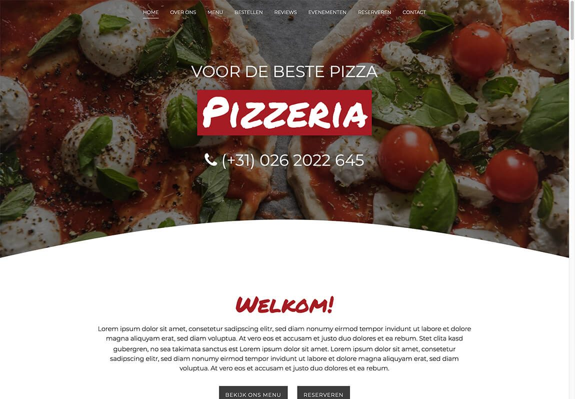 Website voorbeeld pizzeria