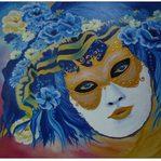 Nr. 42, Venezianische Maske blau, Größe 50 x 60 cm
