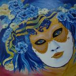 Nr. 42, Maske blau, Größe 50 x 65 cm