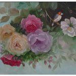 Nr. 19, Rosen mit Vogel, Größe 40 x 50 cm