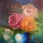 Nr. 24, Vase mit 3 Rosen, Größe 50 x 40 cm, verkauft