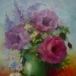 Nr. 40, Rosen Vase grün, Größe 50 x 40, verkauft
