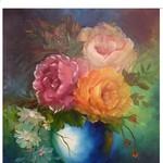 Nr. 24, Vase mit 3 Rosen, Größe 50 x 40 cm