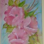 Nr. 12, Blumen rosa, Größe 60 x 40 cm