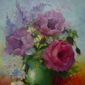 """Nr. 40 """"Rosen Vase grün"""" Größe 50x40, verkauft"""