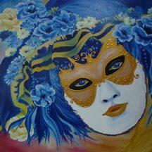 """Nr. 42 """"Maske blau"""" Größe 50x65 cm"""