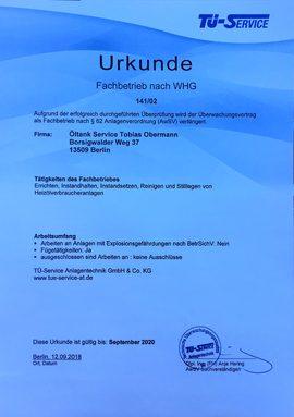 Öltankentsorgung Klaus Obermann Berlin - Urkunde