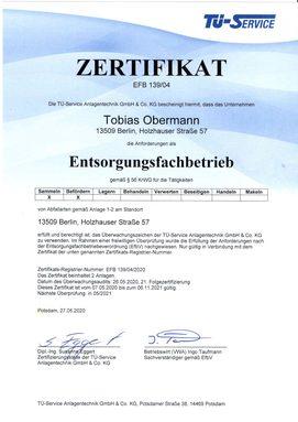 Öltankentsorgung Klaus Obermann Berlin - Zertifikat