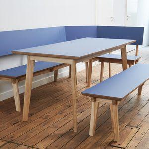 Ecksitzbank mit Tisch und Einzelbank in Esche und Linolium