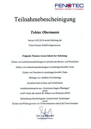 Öltankentsorgung Klaus Obermann Berlin - Teilnahmebescheinigung