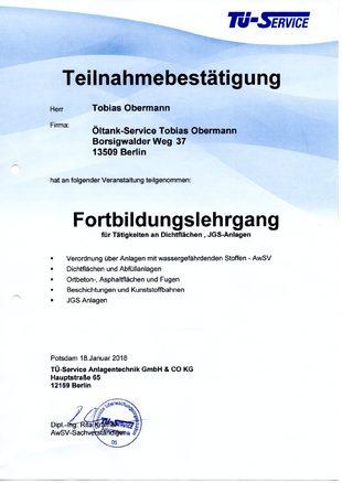Öltankentsorgung Klaus Obermann Berlin - Teilnahmebestätigung Fortbildungslehrgang