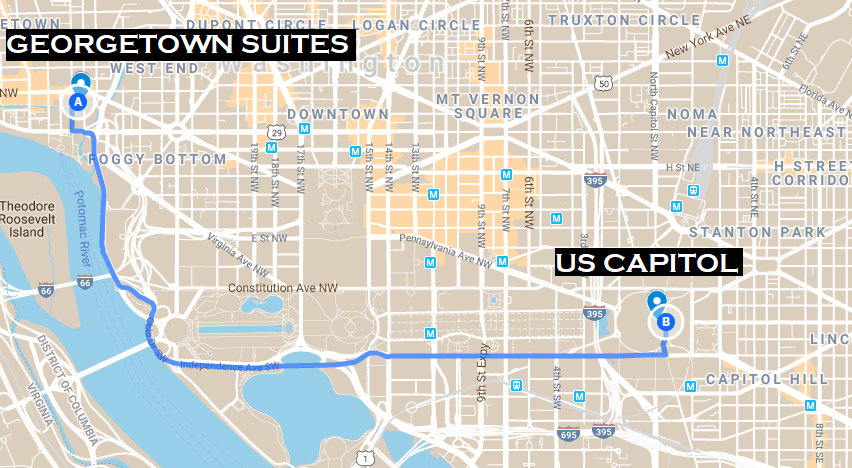 map of distance from Georgetown Suites to White House