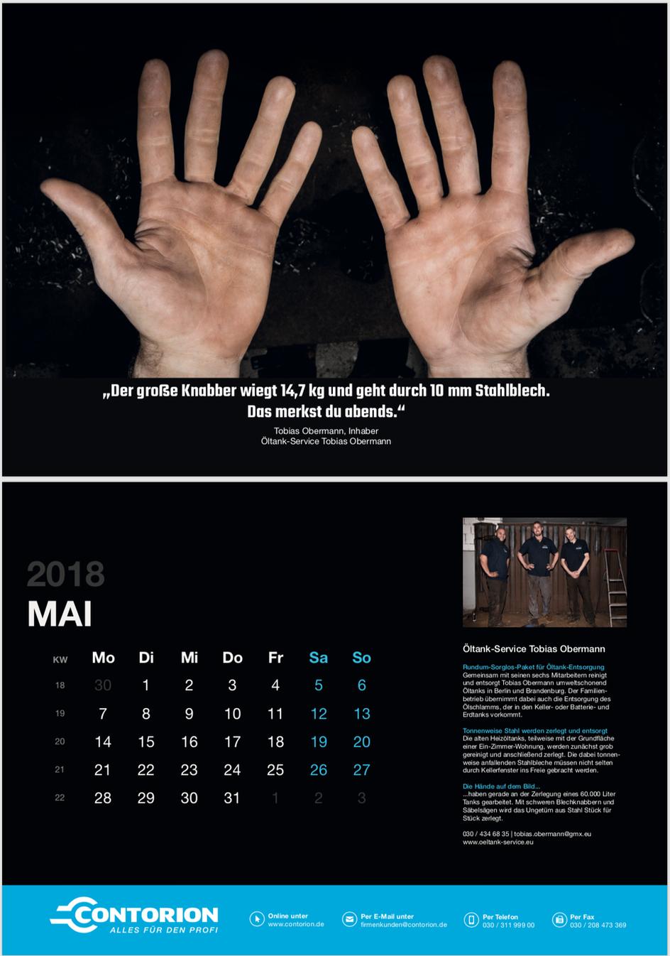 Öltankentsorgung Klaus Obermann Kalender 2018